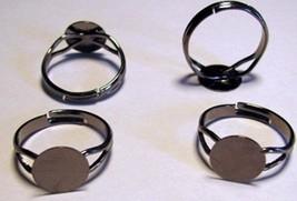 50 Gun Metal BLACK Adjustable Finger RING BLANKS Findings 10mm Flat Glue... - $9.89