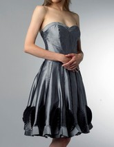 Basix Black Label Dress Sz 4 Charcoal Grey Soutache Taffeta Strapless Co... - $126.44