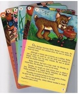 Bobby Bobcat Story Reading Cards (6) Cardinal Greetings 1954 Heavy Stock - $4.98