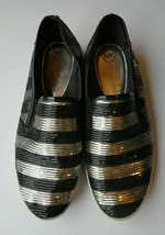 Michael Kors 8.5 B silver black sequin flat shoes slip on Keaton - $34.64