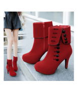 Fashion Women Ankle Boots High Heels Flock Buckle Boots Ladies Shoes - $31.77