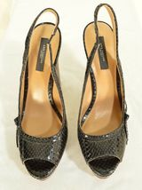 Ann Taylor shoes heels 9M platform black leather snakeskin high chic career image 3