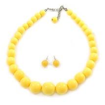 Avalaya Pineapple Yellow Acrylic Bead Choker Style Necklace and Stud Ear... - $28.05