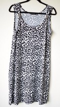 Notations Medium Animal Print Black White Sleeveless Pullover Dress - $24.74
