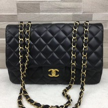 AUTHENTIC CHANEL BLACK QUILTED LAMBSKIN JUMBO CLASSIC FLAP BAG GOLDTONE HARDWARE