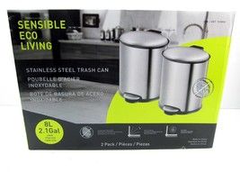 Cylinder Stainless Steel Trash Cans Small 2.1 GAL Sensible Eco Living Ba... - $28.00