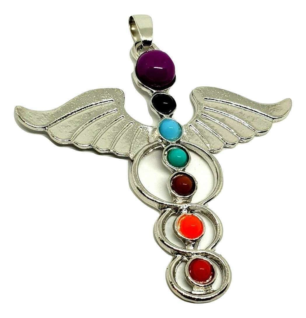 Hermes Winged Beautiful Chakra Silver Tone Guardian Angel Wing Pendant Gift