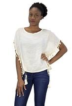 Peach Couture Womens Light Weight Tasseled T Shirt Blouse White - $22.72
