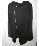 Allegra K  Adult Jacket Black Asymmetric Zip Hooded High Low L 44 New - $27.71