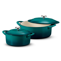 Tramontina Enameled Cast Iron Set 4-7 qt Covered Round Dutch Oven Fast ... - $114.59