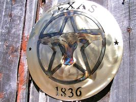 Texas Star Longhorn Steer Western 1836 sign plaque Iron Plasma cutout 0306 - $94.98