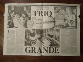 "1994 New York Rangers Stanley Cup Champions - Newsday Center Page ""Trio ... - $15.00"