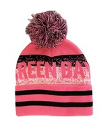 Green Bay Pixelated Adult Size Winter Knit Pom Beanie Hat (Pink/Black) - $13.75