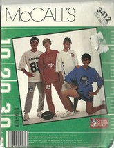 McCall's Sewing Pattern 3412 Unisex NFL Nightshirt Top Pants Shorts Size... - $9.99