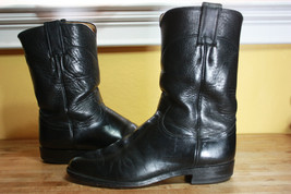 Justin leather boots 7 D black roper cowboy western shoes - $45.00
