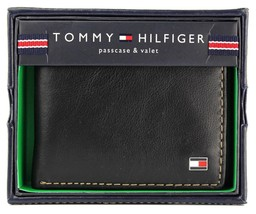 NEW TOMMY HILFIGER MEN'S PREMIUM LEATHER PASSCASE BIFOLD WALLET BLACK 31TL22X030