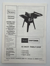 """Sears Craftsman 10"""" Radial Table Saw Owners Manual Book Guide Operators 21-857 - $12.30"""