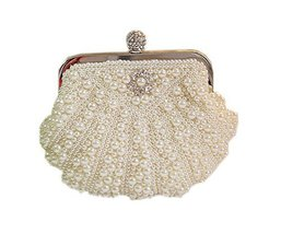 Cute Beads Sea Shell Clutch Bag Mini Beige Party Clutch