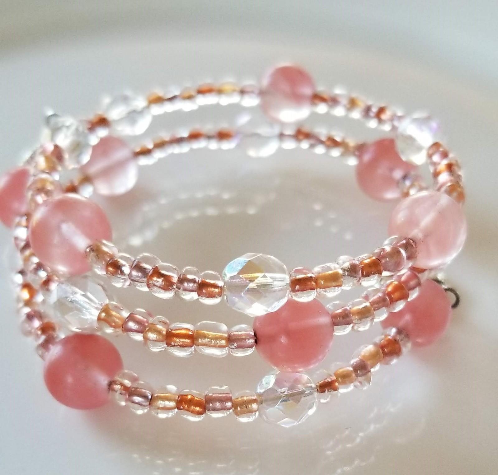 Pink Mix Beaded Wrap Bracelet