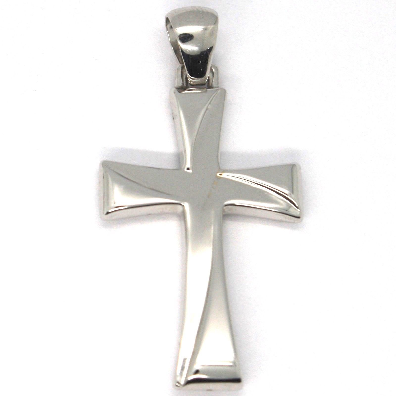 18K WHITE GOLD SQUARE ONDULATE CROSS BIG 4 CM, 1.6 INCHES, BRIGTH, MADE IN ITALY