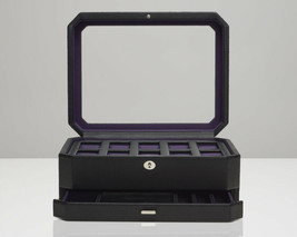 Windsor 10 Piece Watch Box with Drawer (Black/Purple) 458603 Free US Shipping - $179.00
