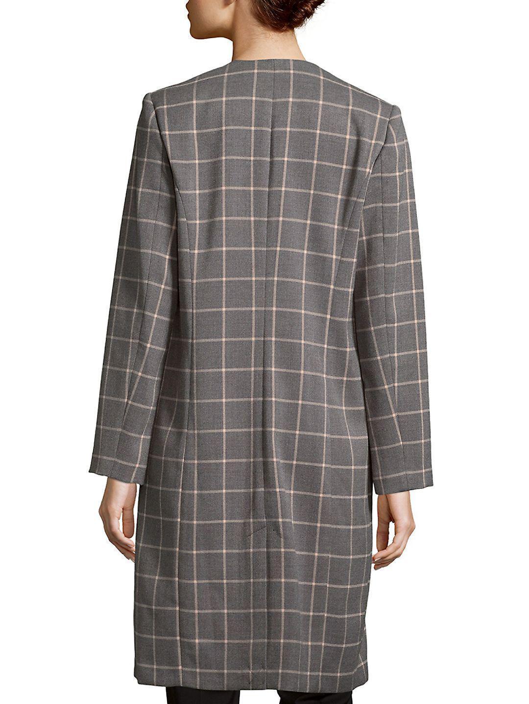 New Calvin Klein Women's Pierce Tartan Open Front Topper Jacket Chai Blush Sz 12