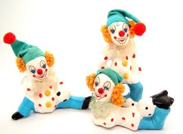 Vintage Clown Figurines Set of 3 felt hats Made in Taiwan red white blue - $17.77