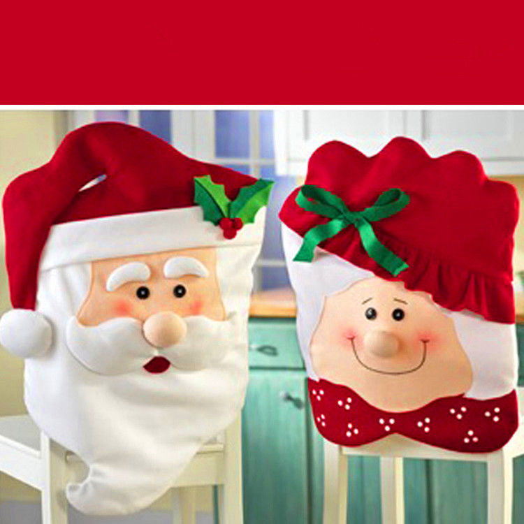 Primary image for Christmas Chair Cover Seat Decor Mr And Mrs Santa Claus Xmas Party Decoration