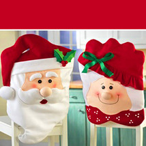 Christmas Chair Cover Seat Decor Mr And Mrs Santa Claus Xmas Party Decoration - $7.89