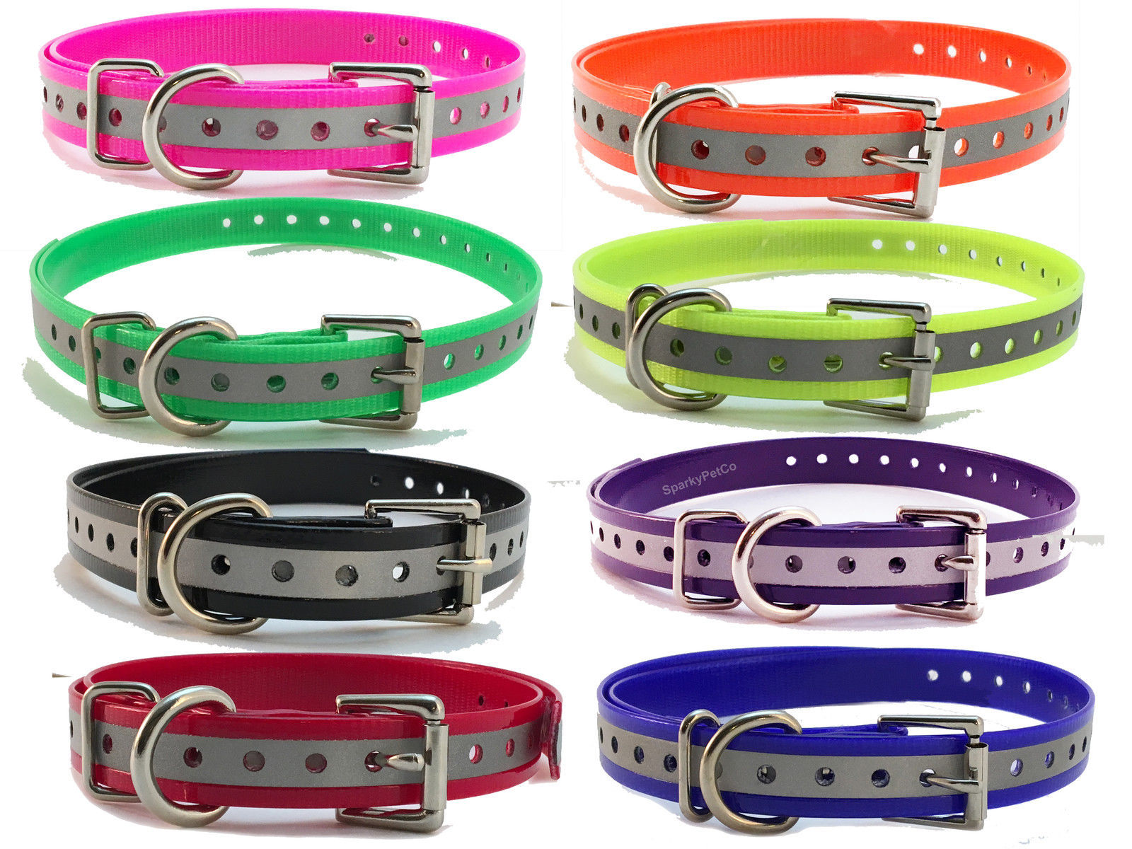 "3/4"" Reflective Replacement Dog Collar Straps-USA Made Sporting Dog Brands"