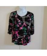 JM Collection Women 3/4 Sleeve Scoop Neck Midnight Floral Black Multicol... - $35.32