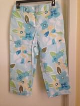 Ann Taylor LOFT Stretch Cotton Blue Yellow Floral Capri Cropped Pants 6 - $16.40