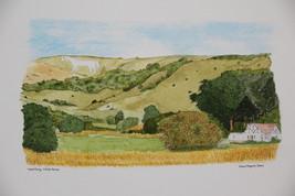 Westbury White Horse. Wiltshire. England. Watercolour print. - $60.00