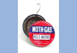 vintage MOTH-GAS TIN Lewy Chemical ny crystal ball hangs GOOD CONDITION ... - $18.95