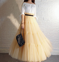 BLACK Tiered Long Tulle Skirt Outfit High Waist Plus Size Princess Party Outfit image 6