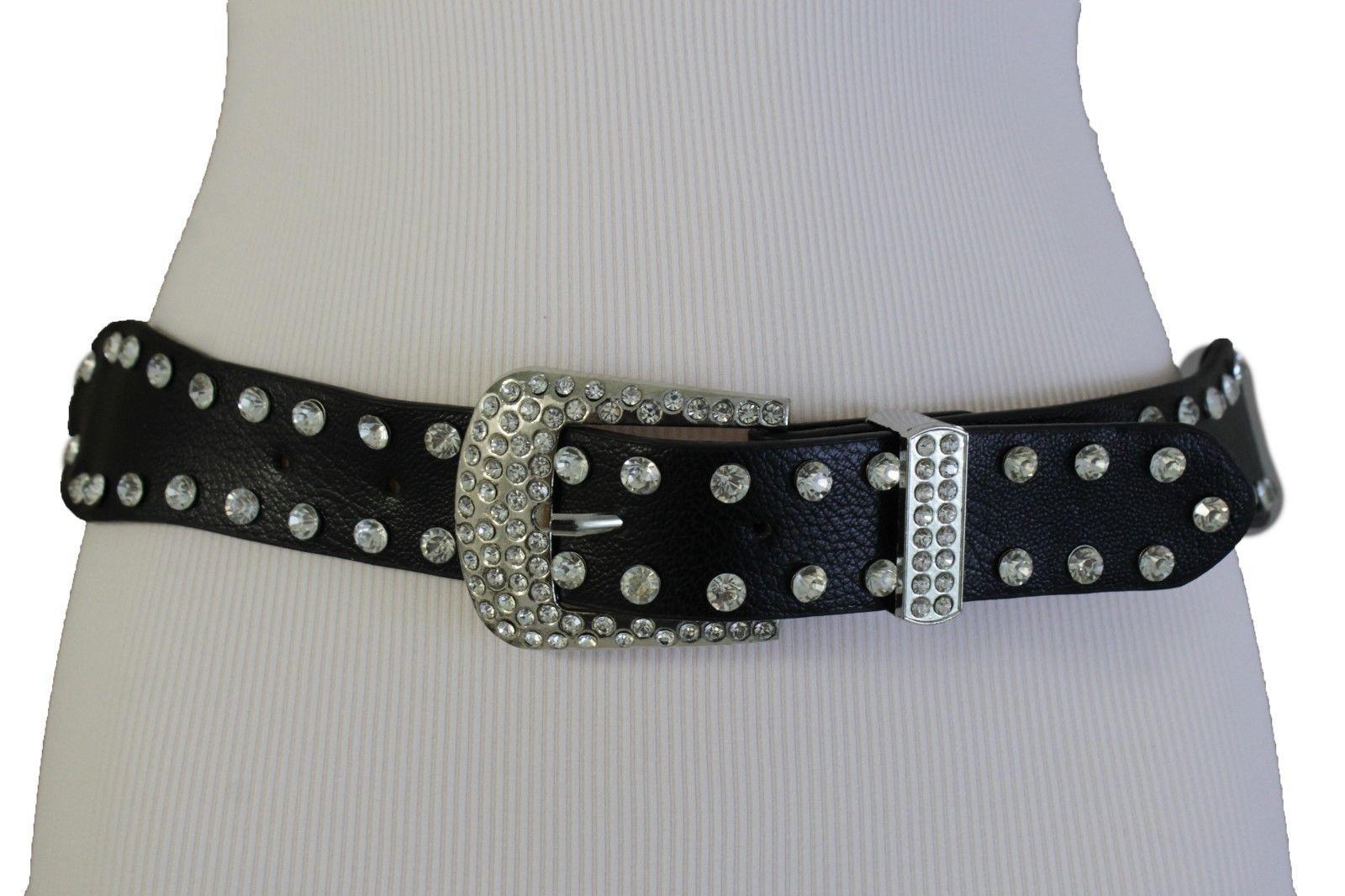 Damen West Gürtel Schwarz Geflochten Kunstleder Silber Perlen Metallschnalle