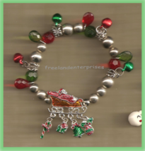 Christmas BRACELET #033 Sleigh with Dangles Bead Stretch Charm Bracelet~No Clasp - $19.78