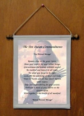 The Ten Indian Commandments - Personalized Wall Hanging (769-1)