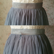 Gray Tulle Skirts for Bridesmaids Plus Size Full Long Wedding Tulle Skirt Outfit image 6