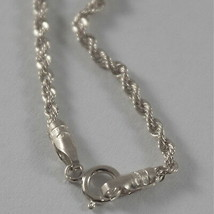 18K WHITE GOLD CHAIN NECKLACE, BRAID ROPE LINK 15.75 INCHES, MADE IN ITALY image 2