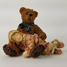 Boyds Bears Yesterdays Child Dollstone Asleep in Teddy's Arms Figurine 3527 - $18.69