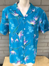Made in Hawaii Blue L Floral Hawaiian Resort Tropical Button Shirt Orchi... - $13.66