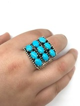 Vintage sterling silver 925  LARGE turquoise Ring size 11.25 - $1.257,00 MXN
