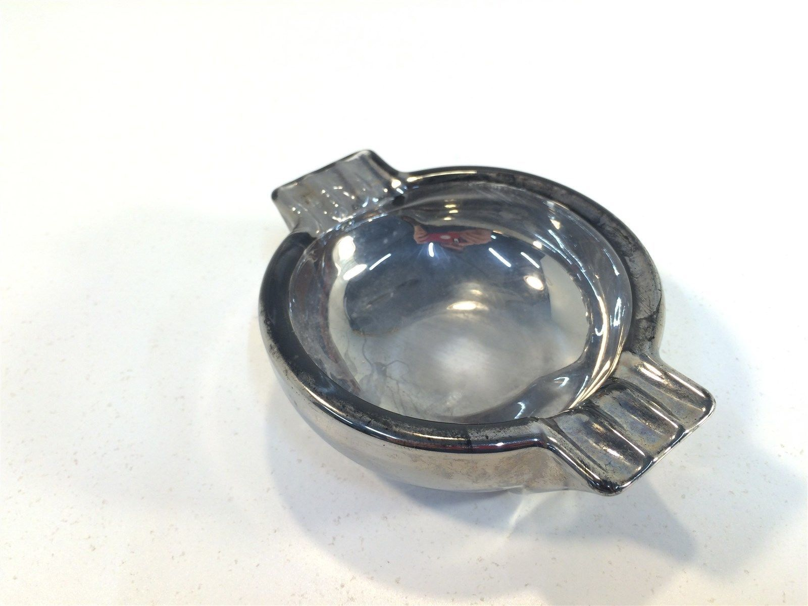 Vintage Silver Plated Glass Ashtray MCM Mid Century Modern