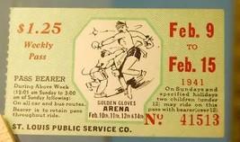 1941 St. Louis Bus Transit Service Ticket Boxing Golden Gloves Arena - $9.89