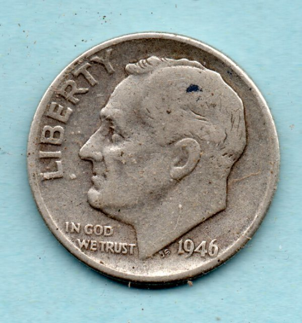 1946  Roosevelt Dime - 90% Silver - Circulated Moderate Wear - $5.25