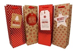 Holiday Wine, Liquor or Beer Gift Bags - 12 Pack Bulk (Red & Gold 12 Pack) - $38.32
