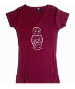 Russian nesting doll Babushka Matryoshka bordeaux women or junior v neck... - $17.99