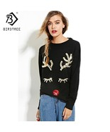 Warm Sequin Knitted Sweater Pullover 2017 Fall Winter Knitwear Soft Blac... - $37.98