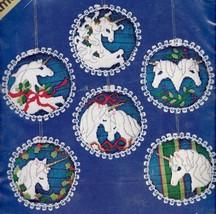 Candamar White Unicorn Christmas Ornaments Horse Floss Needlepoint Kit 3... - $72.95